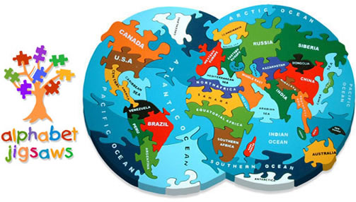 alphabet jigsaws world map Alphabet Jigsaws   Fun Childrens Puzzles