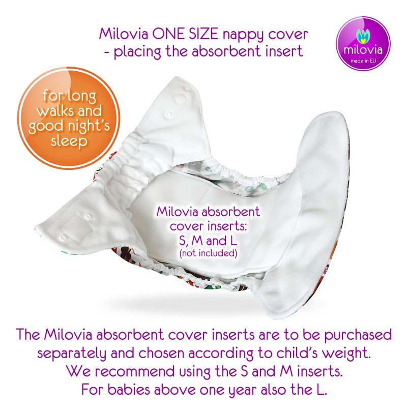 milovia one size cover explained inserts Milovia Cloth Nappies