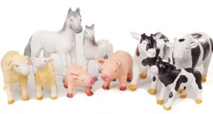 rubber green toys farm animals t