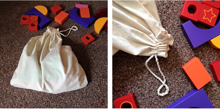 Colourful blocks with cotton  bag