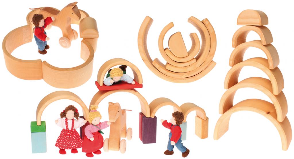 Grimm's 6 piece natural tunnel , medium natural wooden rainbow toy