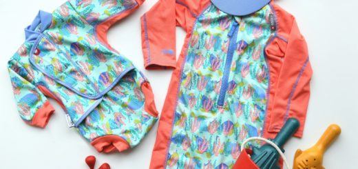 Turtle print swimwear flatlay