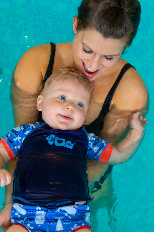 Mum and baby in the pool with baby short sleeve rash vest