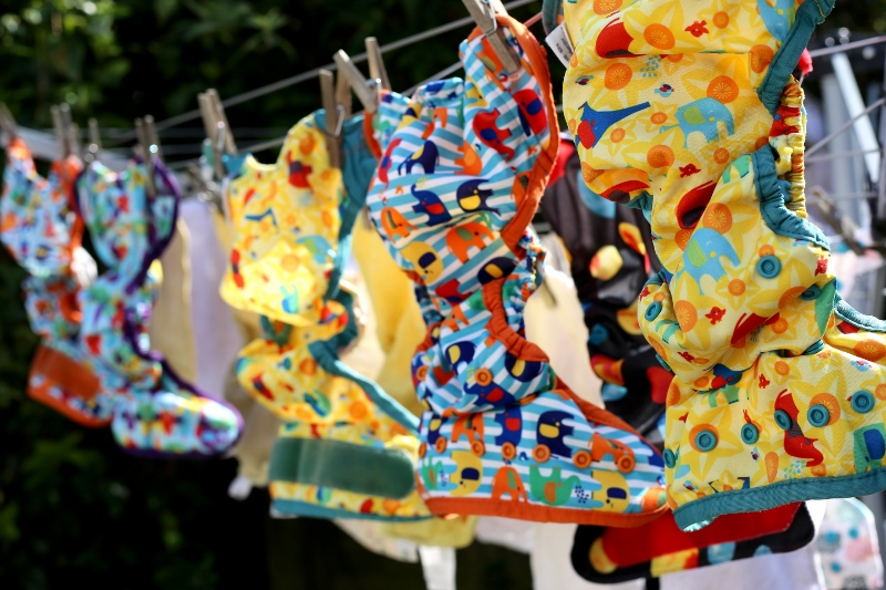 Cloth nappies drying on the line
