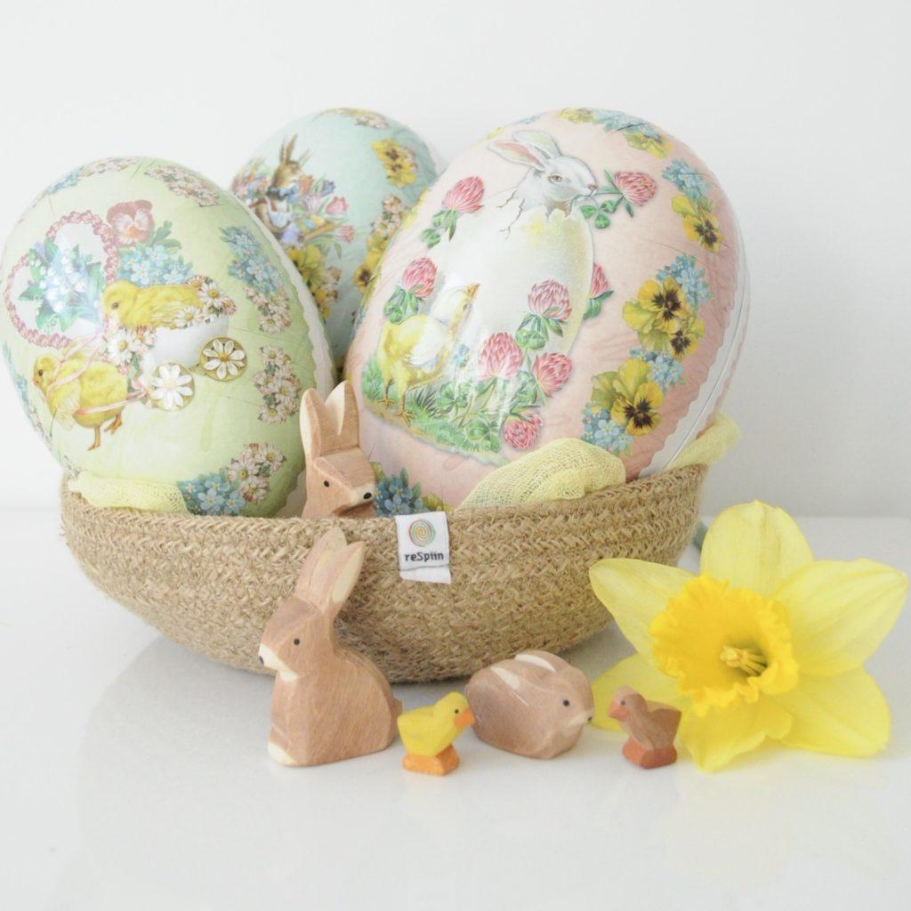 Norwegian Easter eggs in a respiin basket