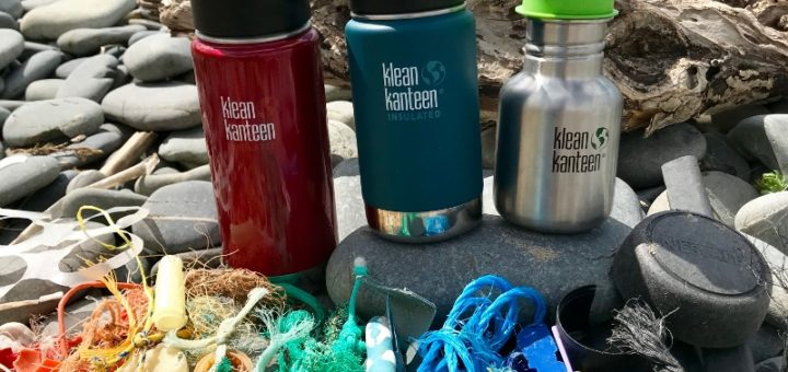 A rainbow of plastic waste found during a 2 minute beach clean, next to our reusable Klean Kanteen bottles