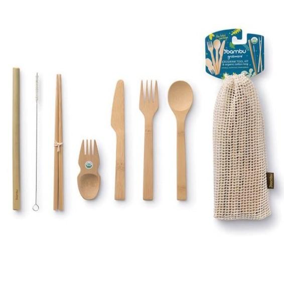 Plastic free bamboo cutlery set