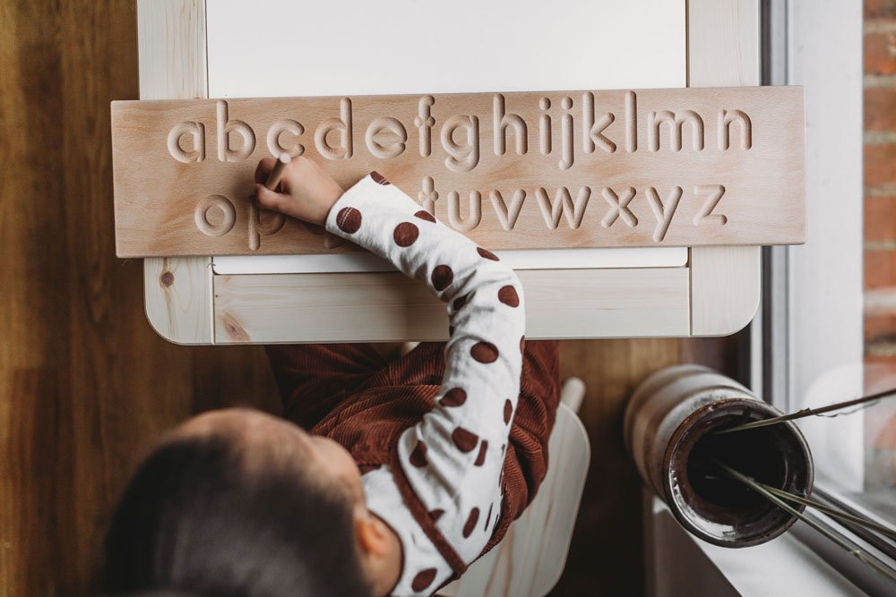 Coach House Alphabet tracing board is a great Montessori resource