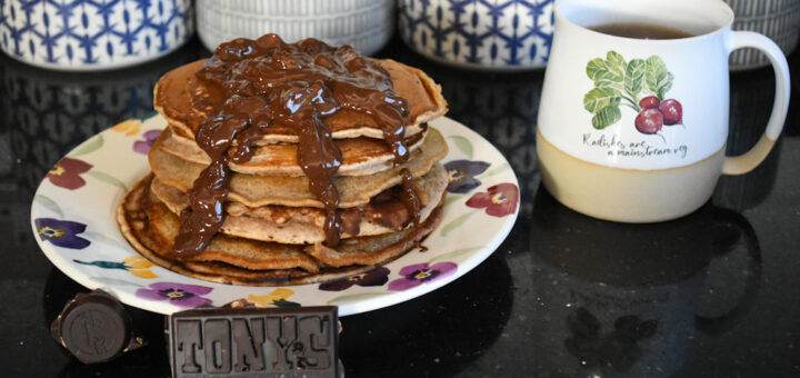 Vegan pancake with a Tony's Chocolonely topping