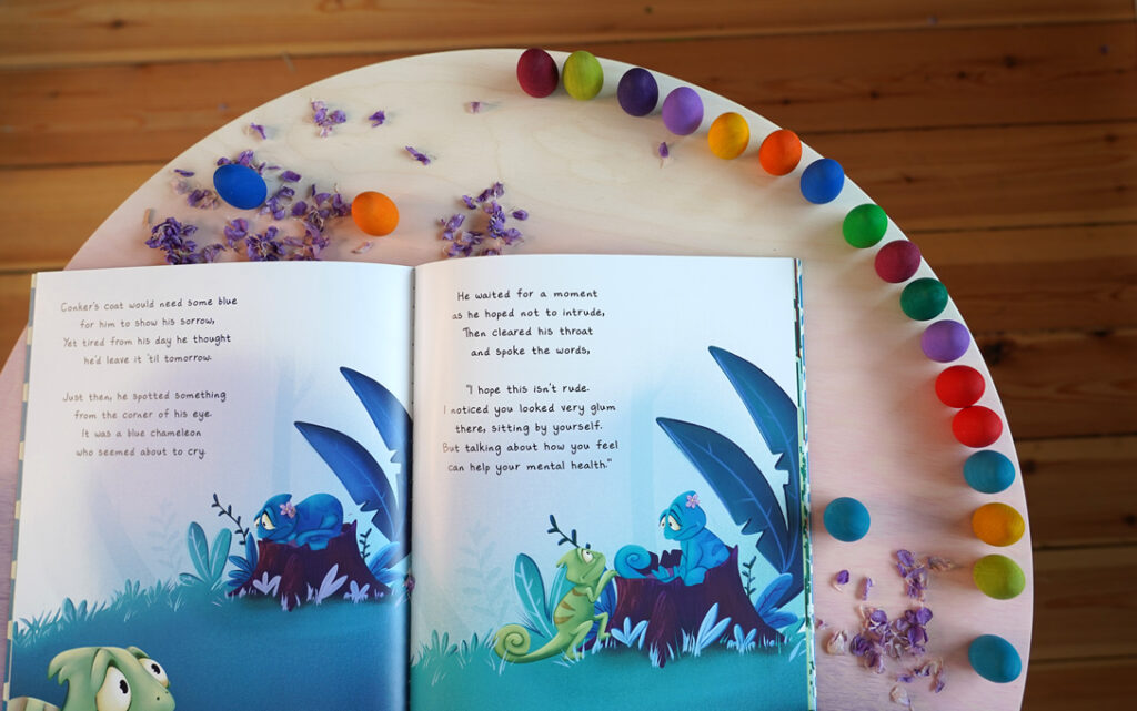Conker the Chameleon with grapat rainbow eggs and toys by nature play  base