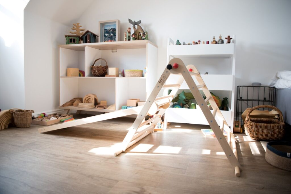 Pikler triangle in a Montessori playroom