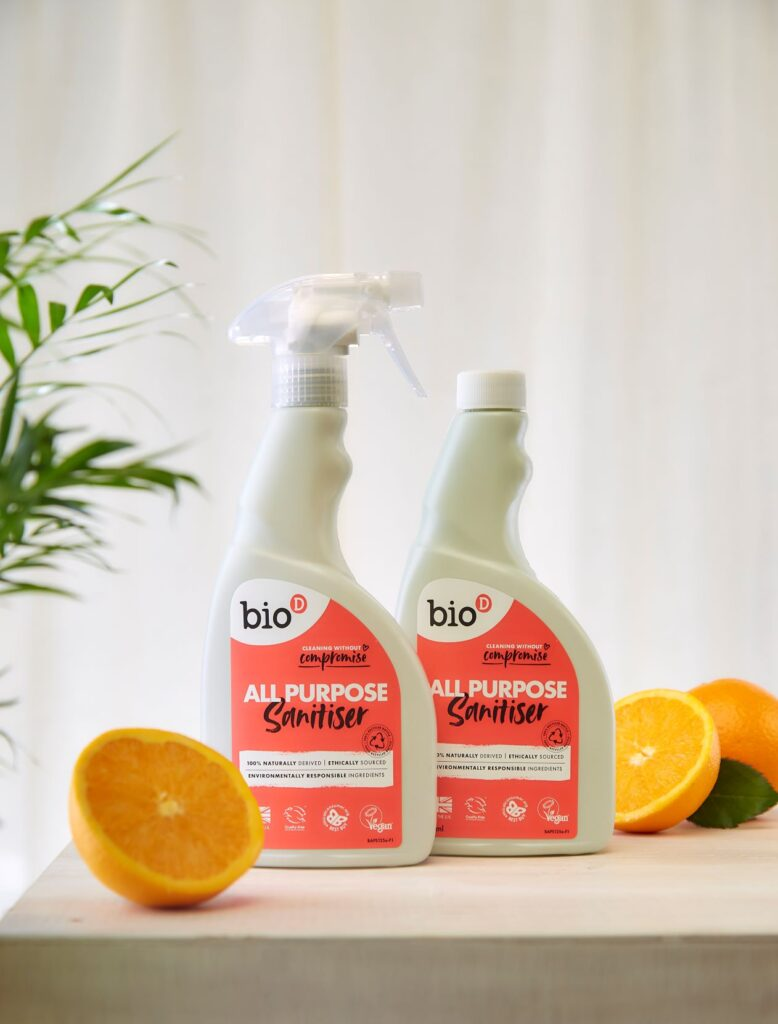 Bio-D All Purpose Sanitiser Refill Orange, safe for use in food preparation areas
