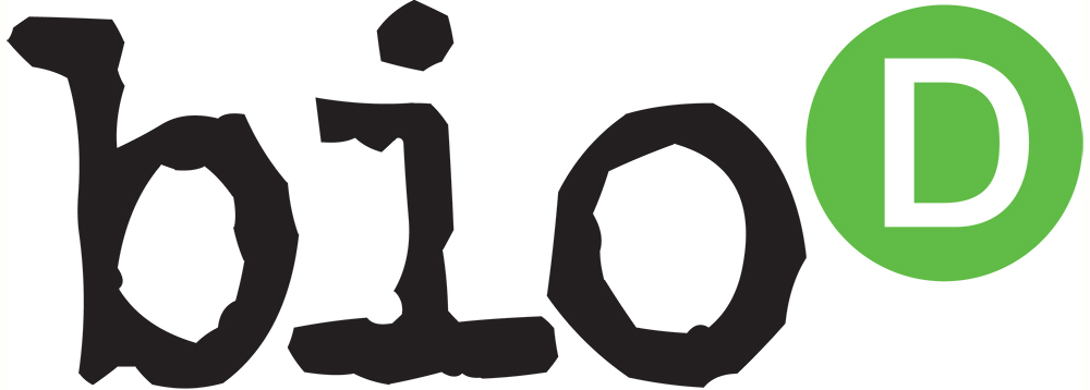 Bio-D-logo, black lowercase on white background, capital D in a green circle