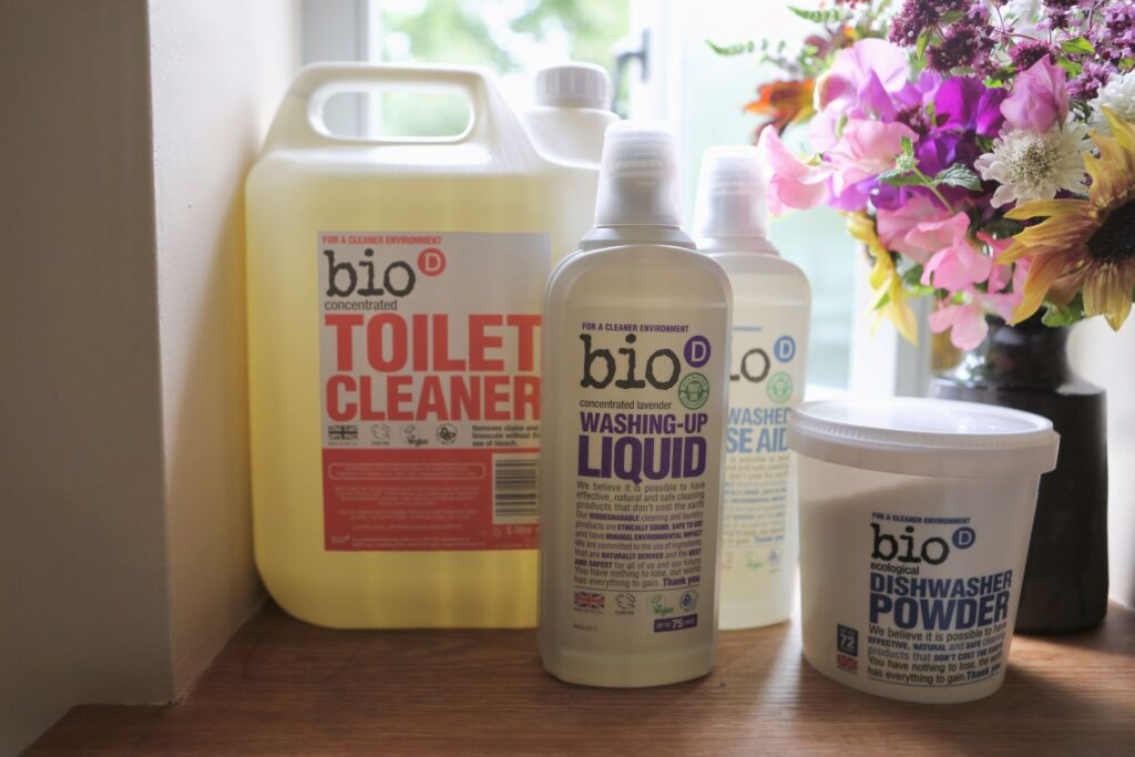 Selection of Bio-D natural cleaning products in a range of sizes