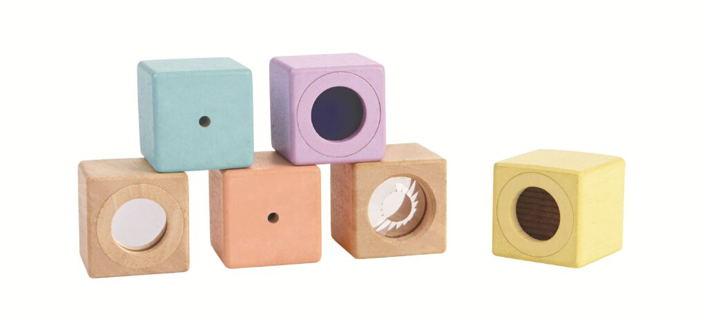 Plan Toys Pastel Sensory Blocks make our best gifts for babies