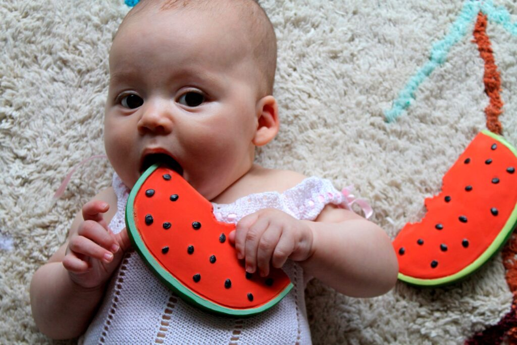 Oli & Carol Fruit And Veggies - Wally The Watermelon 100% natural rubber teething and bath toy